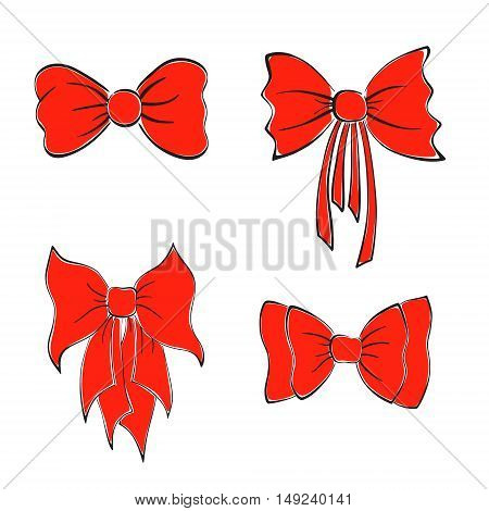 Set with Bright Red Bows. Hand Drawn Style. Vector EPS 10