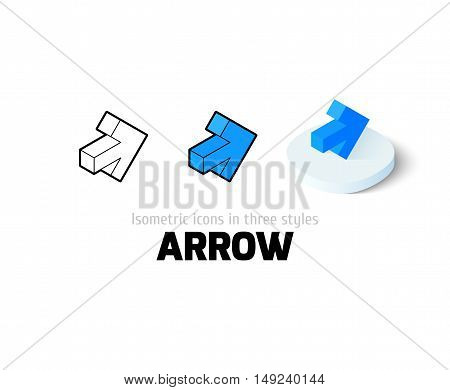 Arrow icon, vector symbol in flat, outline and isometric style