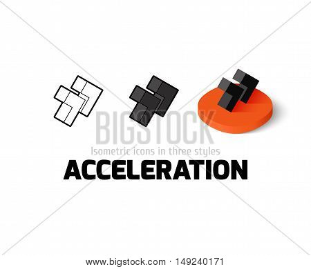Acceleration icon, vector symbol in flat, outline and isometric style