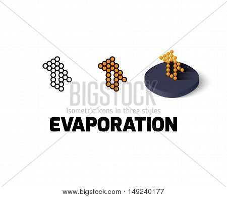Evaporation icon, vector symbol in flat, outline and isometric style