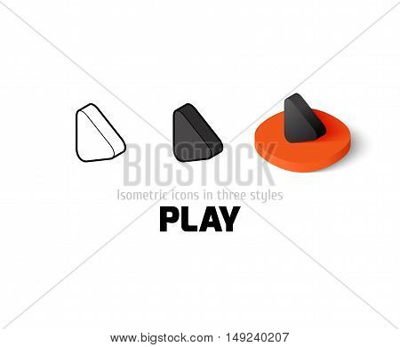 Play icon, vector symbol in flat, outline and isometric style