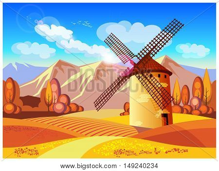Stylized vector illustration on the theme of European landscapes in autumn. Windmills fields of Provence the Alps etc. seamless horizontally if necessary.