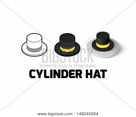 Cylinder hat icon, vector symbol in flat, outline and isometric style