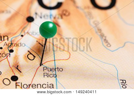 Puerto Rico pinned on a map of Colombia