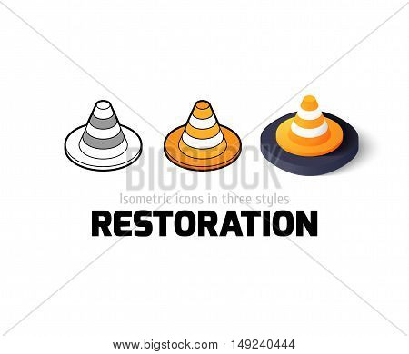 Restoration icon, vector symbol in flat, outline and isometric style