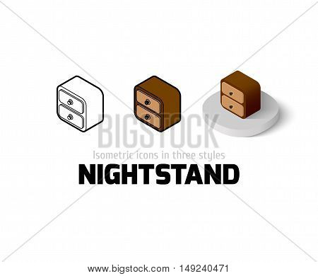 Nightstand icon, vector symbol in flat, outline and isometric style