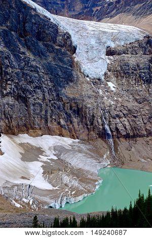 Beautiful view of glacier lake and waterfalls. Alberta. Canada.