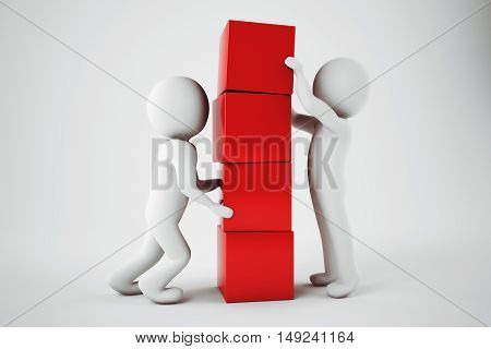 Man make a building with red cubes. 3D Rendering