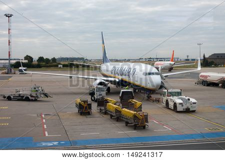 Berlin, Germany - September 20. 2016: Aircrafts of low cost airline company Ryanair in Schonefeld Airport