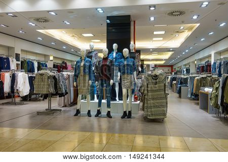Vilnius, Lithuania - September 22, 2016: Modern clothing store interior in a mall