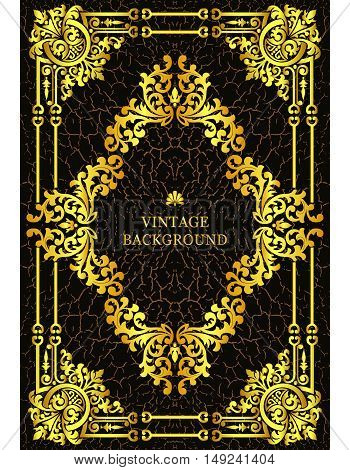 Vector luxury vintage border in the baroque style with gold floral pattern frame. The template for the book covers old royal pages invitations greeting cards certificates diplomas.