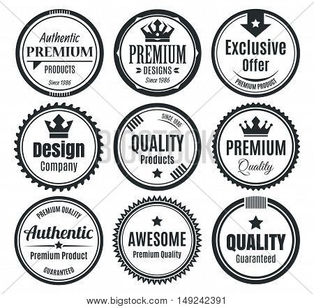 Nine Monochromatic Scalable Classic Vintage Marketing Badges