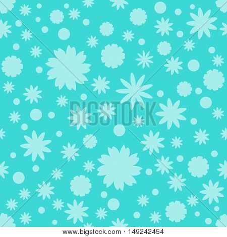 Seamless pattern with turquoise stars dots snowflake, flowers on blue background. Sky background. Vector illustration.