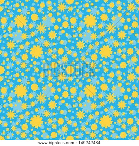 Seamless pattern with blue, yellow ditsy flowers dots on blue background. Floral background. Vector illustration.