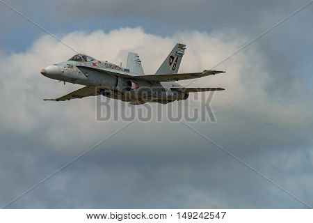 NEW WINDSOR NY - SEPTEMBER 3 2016: The evolution of F 18 Hornet from Stewart International Airport during the New York Airshow.