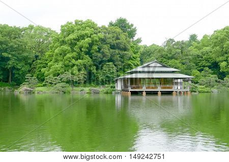 Green Tree, Traditional Japanese House, Garden And Water Pond