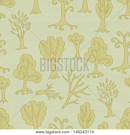 Pastel green seamless pattern of different trees and branches. Hand drawn infinity forest background. Cartoon woodland. The best for design textile, fabric, wrapping paper. Vector illustration.