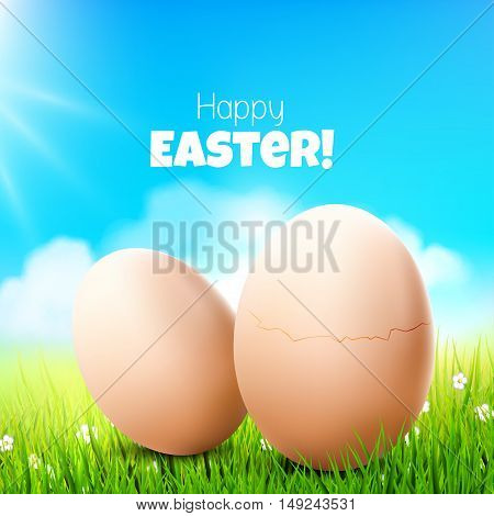 Easter greeting card with eggs in grass