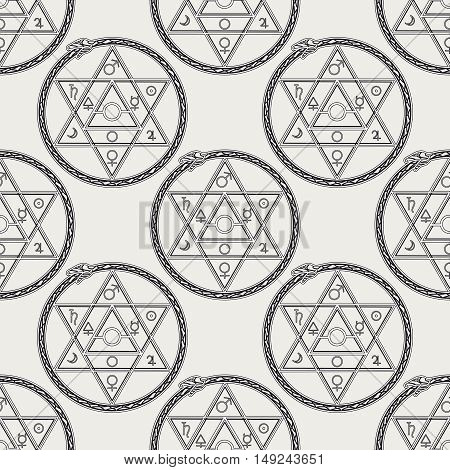 Seamless pattern with mystical astrological sign alchemy elements and uroboros