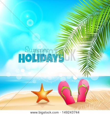 Summer holidays background with flip flops and sea star on a beach