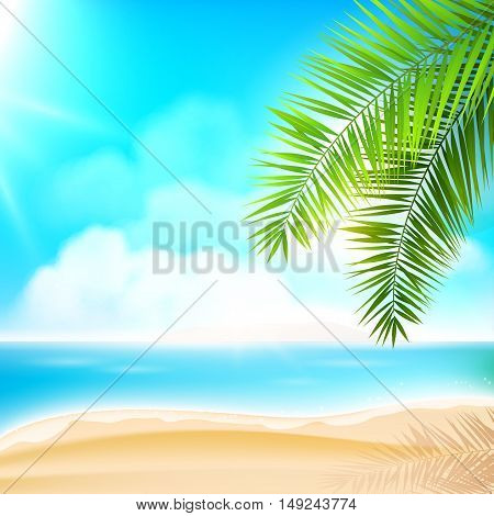 Sunny summer beach with palm leaves- vector background