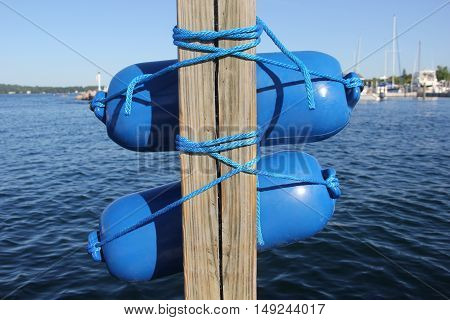 Boating floats on a dock in Traverse City, Michigan