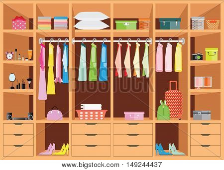 Flat Design walk in closet with shelves for accessories and cosmetic make up interior design Clothing store Boutique indoor of woman's cloths conceptual Vector illustration.