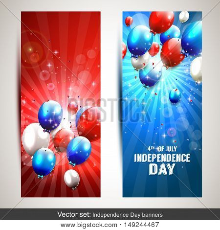 Set of two vertical Independence day banners