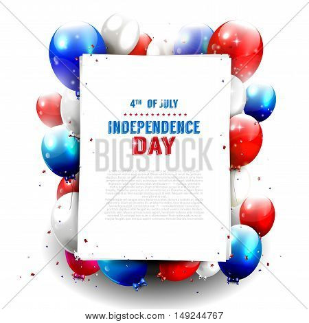 Independence day - vector background with red and blue balloons and place for text