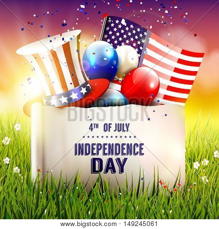 Independence day - vector poster with hat balloons and American flag in the grass