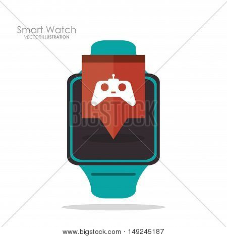 Smart watch and videogame icon. App media wearable technology and gadget theme. Colorful design. Vector illustration