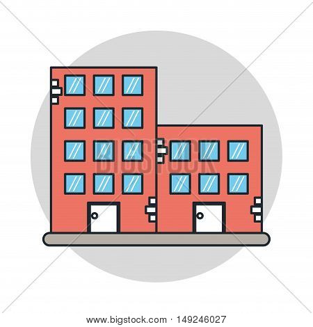 Building with windows icon. City urban and real estate theme. Isolated design. Vector illustration