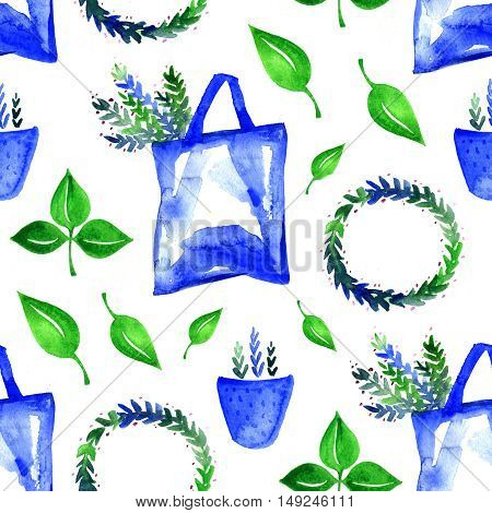 beautiful botanical seamless pattern - watercolor hand drawn branches and green leaves on white background