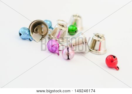Small colorful bells isolated and Christmas decorations. Christmas ornaments.
