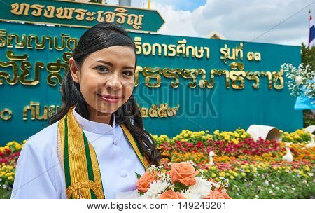 Nonthaburi, Thailand, September 25, 2016. Graduates in academic gown. The commencement rehearsal at Sukhothai Thammathirat Open University.