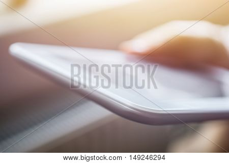 Female Holding White Blank Business Tablet At Sunset