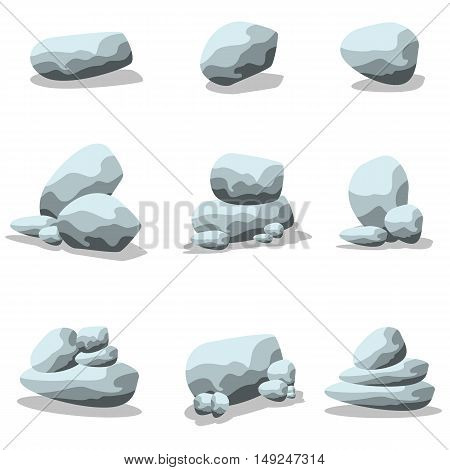 Collection rock set of vector art illustration