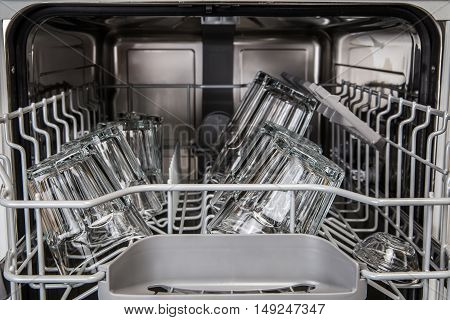 Clean Transparent Glasses In Modern Dishwasher Machine