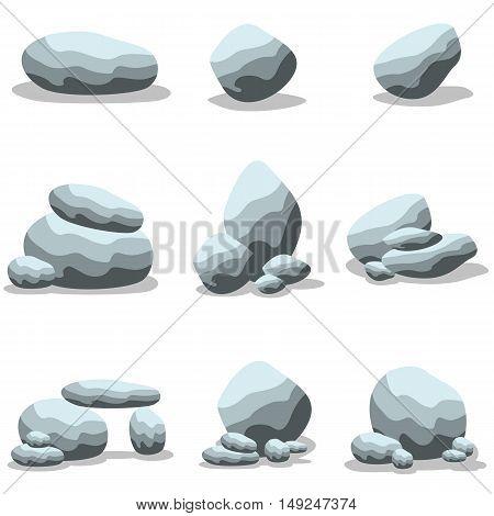 Cartoon rock set collection of vector illustration
