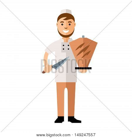 Cook at work, cooking kebab. Isolated on a white background