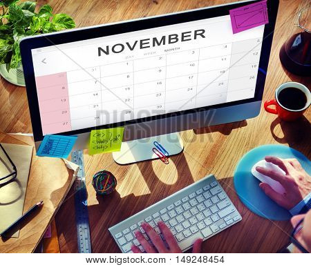 November Monthly Calendar Weekly Date Concept