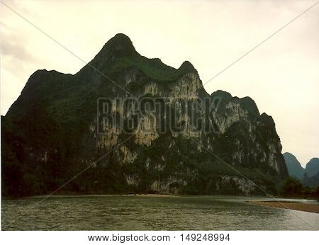 A mountain beside the Li River, between Yangshuo and Guilin, China, circa 1987.