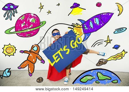 Kids Imagination Space Rocket Joyful Graphic Concept