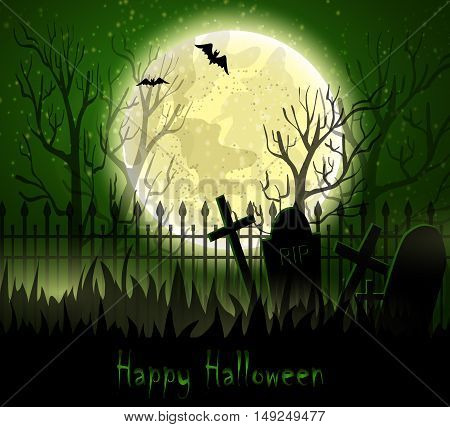 Graveyard cemetery tomb in forest with moon, Halloween background, vector illustration