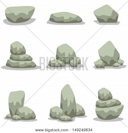 Vector illustration of rock set collection stock