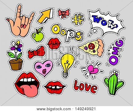 Fashion modern doodle cartoon patch badges or stickers with speech bubbles, stars, heart, lips and other elements. Set of cartoon pins in 80s 90s pop art. Vector Illustration.