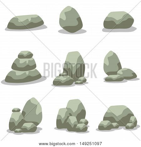 Rock set element of vector art illustration