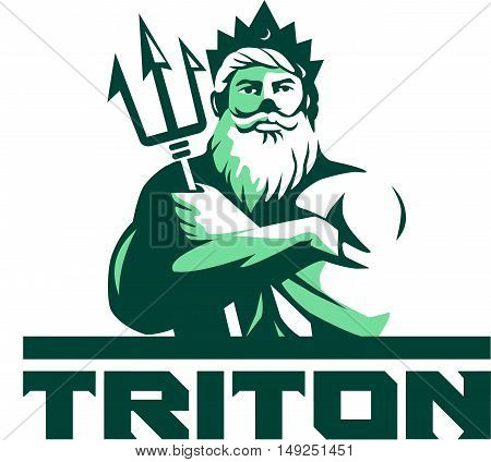 Illustration of triton mythological god arms crossed holding trident viewed from front set on isolated white background with the word text Triton done in retro style.