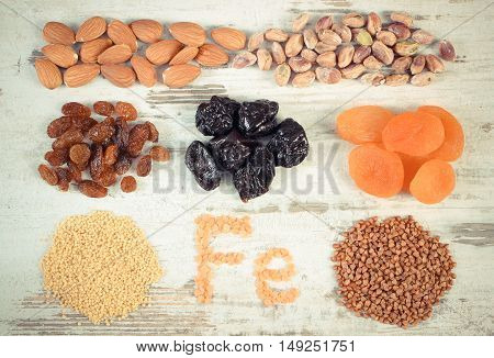 Vintage Photo, Ingredients And Products Containing Iron And Dietary Fiber, Healthy Nutrition