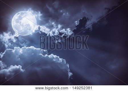Nighttime Sky With Clouds And Bright Full Moon Would Make A Great Background.
